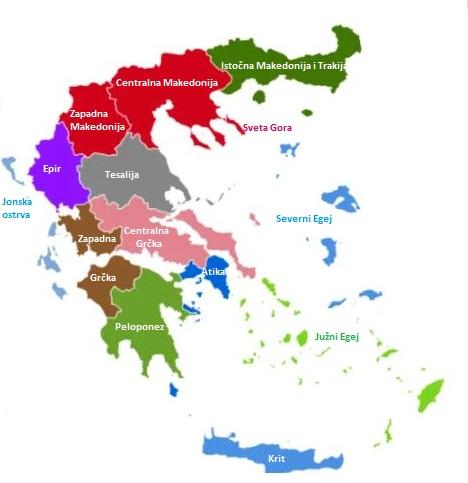 REGIJE U GRČKOJ MAPA